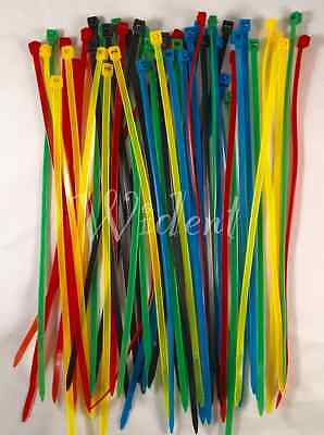"100 Pcs 8"" inch Colored Network Cable Cord Wire Tie Strap Zip Nylon"