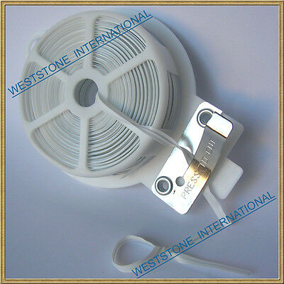 65ft (20m) White Flat Plastic Twist Tie roll with cutter