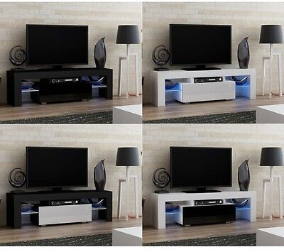 High Gloss Cupboard TV Cabinet Stand Unit 130cm Board Modern Led Black White LCD