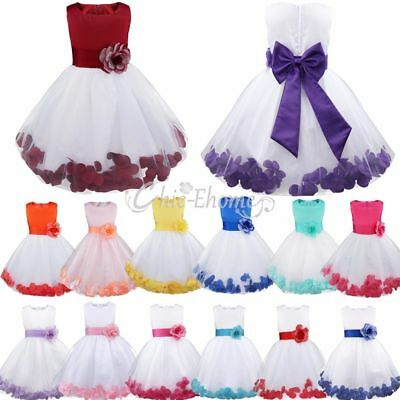 Petal Flower Girl Baby Sleeveless Wedding Formal Bridesmaid Party Princess Dress