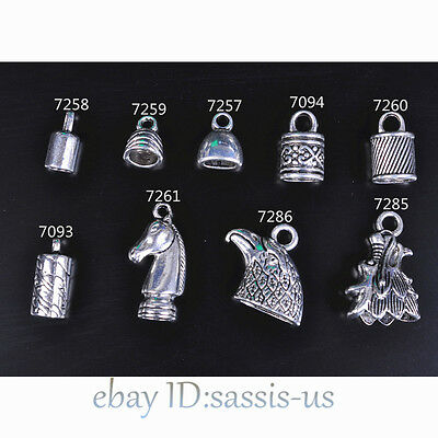 20pcs Tibetan Silver End Cap Beads Stopper Fit 5-8mm Cord DIY Jewelry Bracelet
