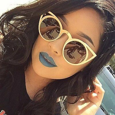 Cat Eye Vintage Style Round Sunglasses Smoked Lens Metal Frame Women Fashion