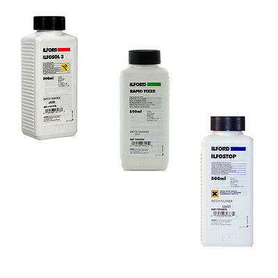 Ilford Black & White Film Processing Chemical Kit - Ilfosol, Rapid Fix, Ilfostop