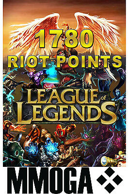 League of Legends Riot Points Card 1780 - 1780 LOL RP Key PC Game Code NEW EU
