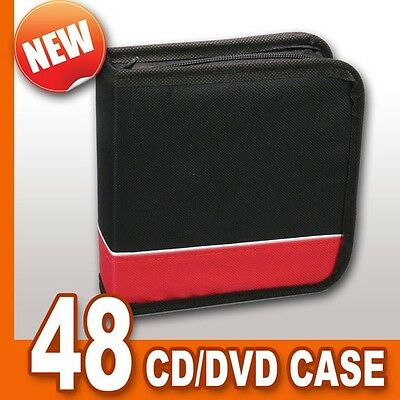 48 CD DVD Disc Protective Storage Carry Case Wallet Holder RED/BLACK (NEW)