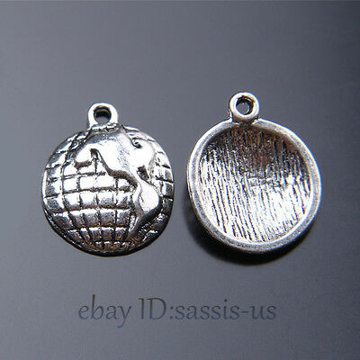 50 pieces 16mm tellurion earth Pendant Charms Tibetan Silver DIY Jewelry A7454