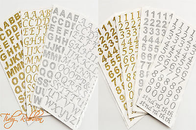 Self Adhesive Letters Numbers Glitter Scrapbooking Diamante Embellishment Craft