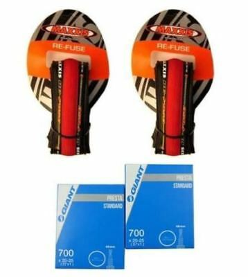 2x RED Maxxis Re-Fuse Folding Tyre 700 X 23c (PAIR) + Tubes. Refuse Road Bike Ti
