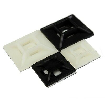 10 x Sticky Cable Tie Mounts 28mm x 28mm Black or White Cable Tidy Clips