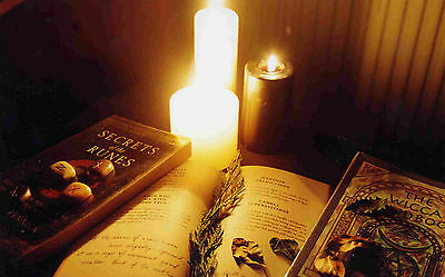Framed Print - Wiccan Candle and Spell Book (Picture Wicca Magic Witch Occult)