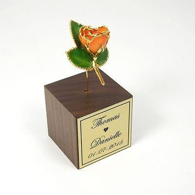 24k Gold Dipped Peach Rose in Personalized Stand (Free Anniversary Gift Box)