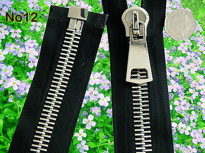 *No 12* HEAVY DUTY METAL  ZIP with SILVER POLISHED TEETH/OPEN ENDED