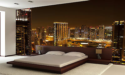 Night ,Dubai City Wall Mural Photo Wallpaper GIANT DECOR Paper Poster Free Past