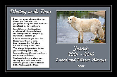 """Personalised Pet Dog Photo Memorial Gift Mounted Verse 9"""" x 6"""" Print - unframed"""