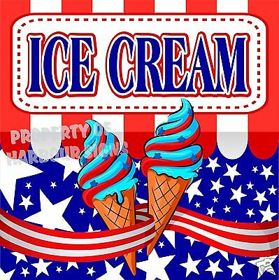 "Ice Cream 14"" Decal Cones Food Truck Concession Cart Vinyl Sign Sticker"