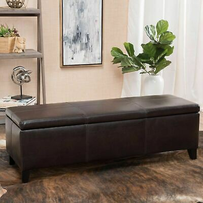 Contemporary Brown Leather Storage Ottoman