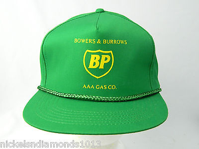 NEW Vintage BP British Petroleum AAA Oil Gas Logo Green Adjustable Snapback Hat