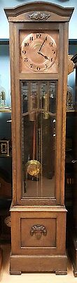 Antique German Grandfather Clock 1/2 Hour Strike Chain Driven, Solid Wood Case