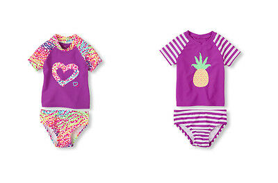 Children's Place Baby Girls 2PC Rashguard UV Protection Swimsuit Tankini Set NWT