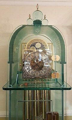 One Of A Kind Custom Made Solid Glass Grandfather Clock, German, Tubular Chimes