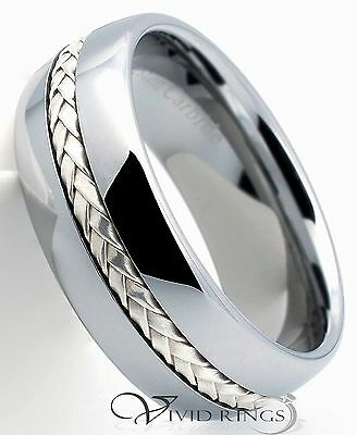 Mens Tungsten Carbide Dome Wedding Band 925 Silver Inlay Ring 8mm 7.5 to 14.5