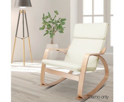 New Rocking Baby Breast Feeding Sliding Glider Chair with Ottoman White Beige
