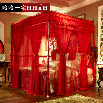 Luxury bed canopy curtain valance double layers stainless steel frame queen king