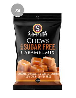 901885 4 x 70g BAGS OF CHEWS CARAMEL MIX - SUGAR FREE, GLUTEN FREE, LOW CARB