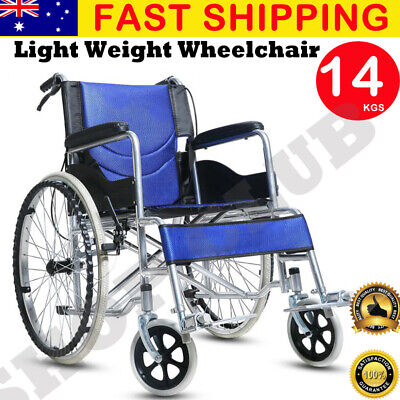 "NEW 24"" Folding Wheelchair Light Weight Manual Mobility Aid Brake Push Aluminium"