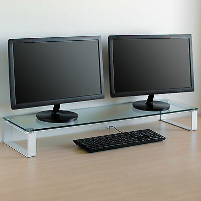 X Large Double Monitor Riser Stand PC/iMac Screen TV Display Shelf Clear/White