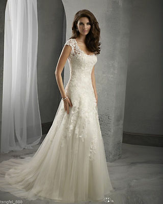 New White/Ivory Bridal Gown Wedding Dress Custom Size 4-6-8-10-12-14-16-18-20+