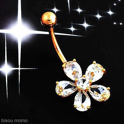 Charming Crystal Flower Body Piercing Jewelry Barbell Belly Button Navel Ring