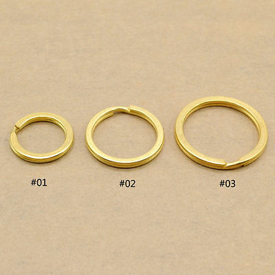 5 Pcs Solid Brass Flat Split Ring Copper Ring Key Chain Hook Holder Handware