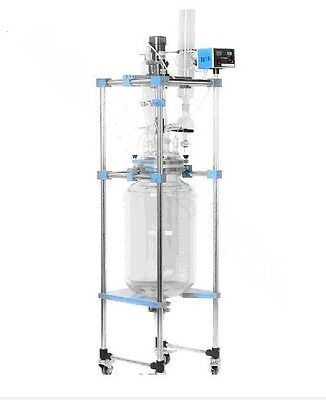 10L Chemical lab Jacketed Glass Reactor Vessel Explosion Proof Customizable t