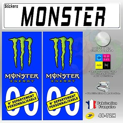 2X Stickers Plaques D'immatriculation Bleu Monster 110x45 mm Personnalisable