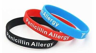 1 x Penicillin Allergy Medical Alert Silicone Wrist Band Bracelet UK SELLER
