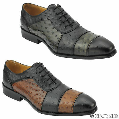 Mens Black Brown 2 Tone Real Leather Ostrich Skin Look Italian Style Dress Shoes