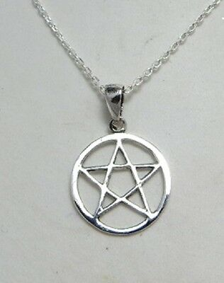 Sterling silver Pentagram in Circle pendant necklace .925 pagan jewellery gift
