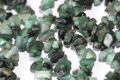 Natural Emerald (Gemstone) Chips 5-7mm Double Strand (36 inches)