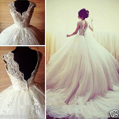 NEW New Princess Wedding Dresses Backless Beaded Bridal Ball Gowns Long Train +