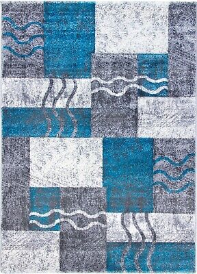 Large Small Teal Blue Silver Charcoal Soft Thick Rugs