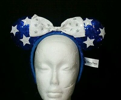 New Disney Parks Blue & White Star Sparkle Bow Minnie Mouse Sequin Ear Headband