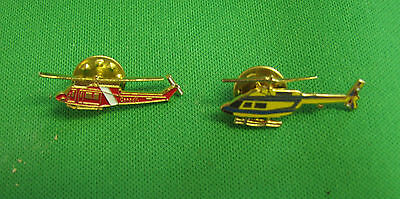 lot of 2 pins pinback helicopter