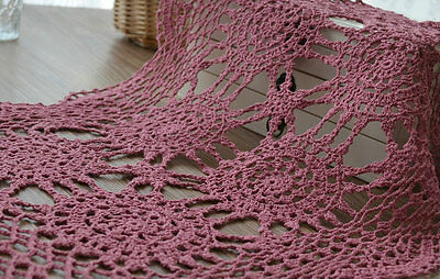 "Vintage Pink Hand Crochet Lace Doily Cotton 20"" Oblong Tray Cloth"