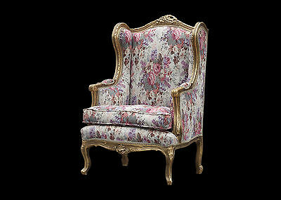 French Wingback Queen Ann Louis Armchair Gold Shabby Chic Bedroom Hallway Chair