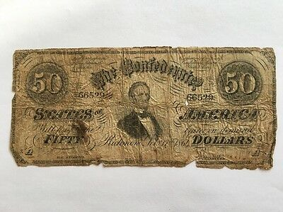1864 Confederate States of America $50 Fifty Dollar Bill Civil War Currency Note