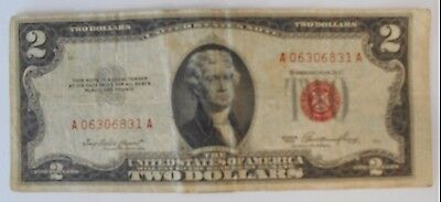 1953  $2.00 United States Two Dollar Bill Red Seal Note *** MARGIN ERROR ***