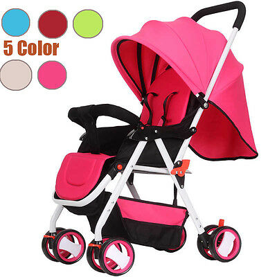 Baby Child Toddler Pushchair Pram Stroller Travel Buggy Seat Carrycot New Pink