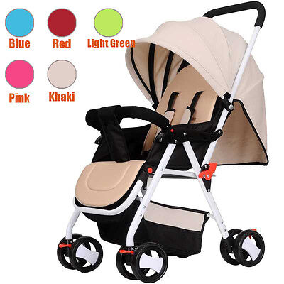 New Khaki Baby Kid Toddler Stroller Pram Lightweight Umbrella Fold Jogger Au