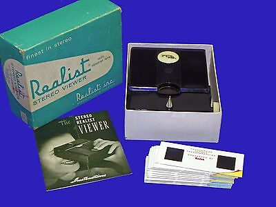 Vintage Lighted Realist WHITE Button 3D Stereo Slide Viewer ST61 w BOX SERVICED!